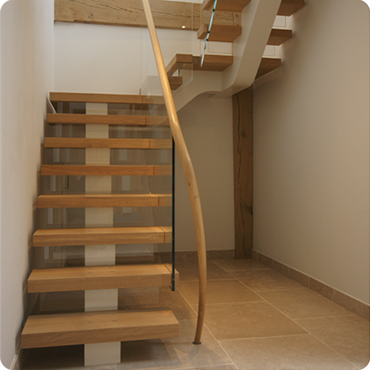 bespoke Oak and glass staircase