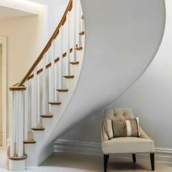 Oak curved cut string staircase